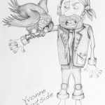 """Yvonne Gartside: This is a pencil sketch of one of the deckhands being bitten by the Captains parrot, aboard the ship in the proposed children's book """"The Fearsome Pirates"""" written by the talented Alastair Millen and illustrated by myself."""